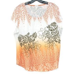 Chicos Orange Embellished Sequin Top 2 Large D1
